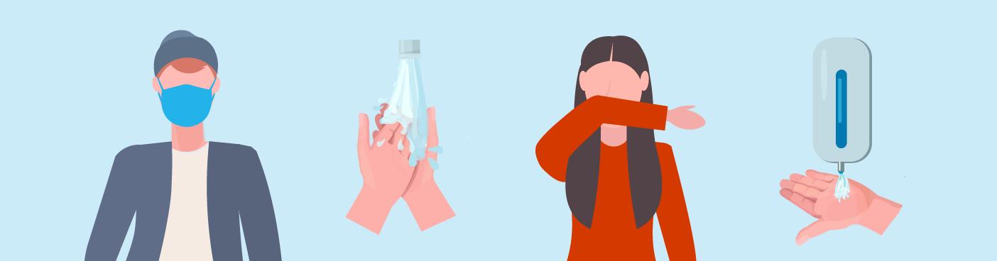 Illustration: Mundbind, håndvask, hos og håndsprit