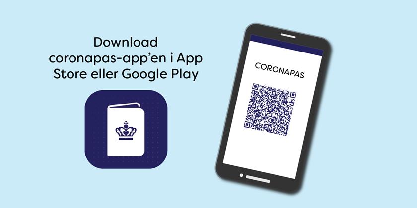 Grafik med mobiltelefon og coronapas-app