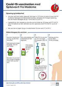Lille billede af information til vaccinator om covid-19-vaccine fra Moderna