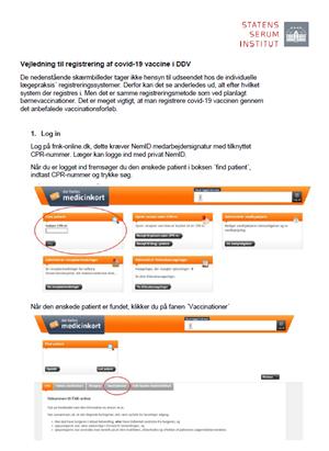 Screendump af vejledning til registrering i DDV
